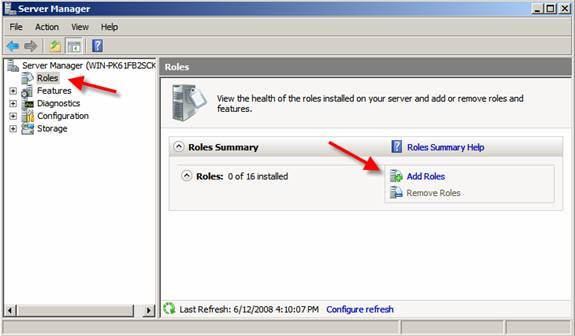 Thêm Role mới trong Windows Server 2008