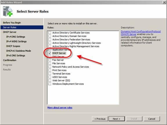 Chọn DHCP Server Role