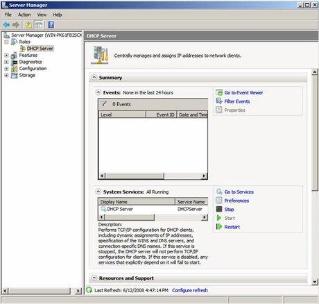 Trình quản lý DHCP Server trong Server Manager