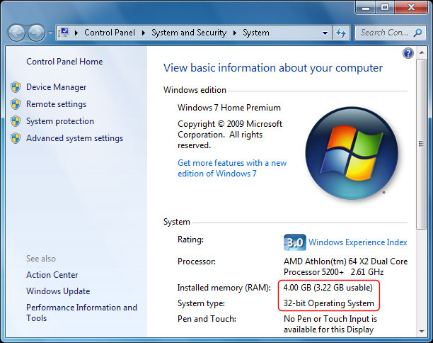 Sử dụng Windows 32 bit